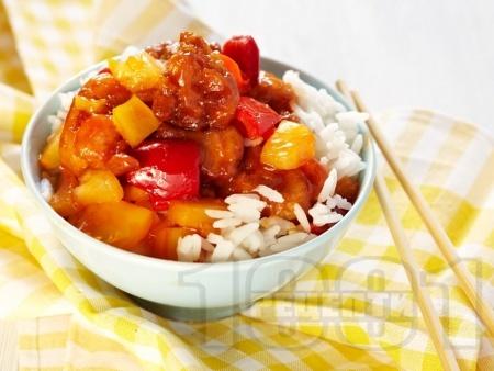 Пържено пиле с ананас и зеленчуци по китайски - снимка на рецептата